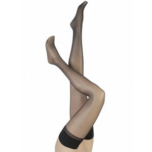 ee3fc717878 Charnos Sheer Lustre Hold Ups Thigh Highs Stay Ups Gloss Shine Black ...