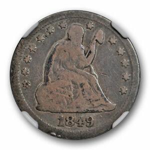 1849-O-Seated-Liberty-Quarter-25C-NGC-VG-8-Very-Good-Key-Date-Original