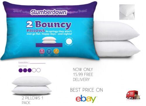 SLUMBERDOWN Slumberdown Bouncy Pillows x 2 White MEDIUM SUPPORT 15.99 FOR 2 PK