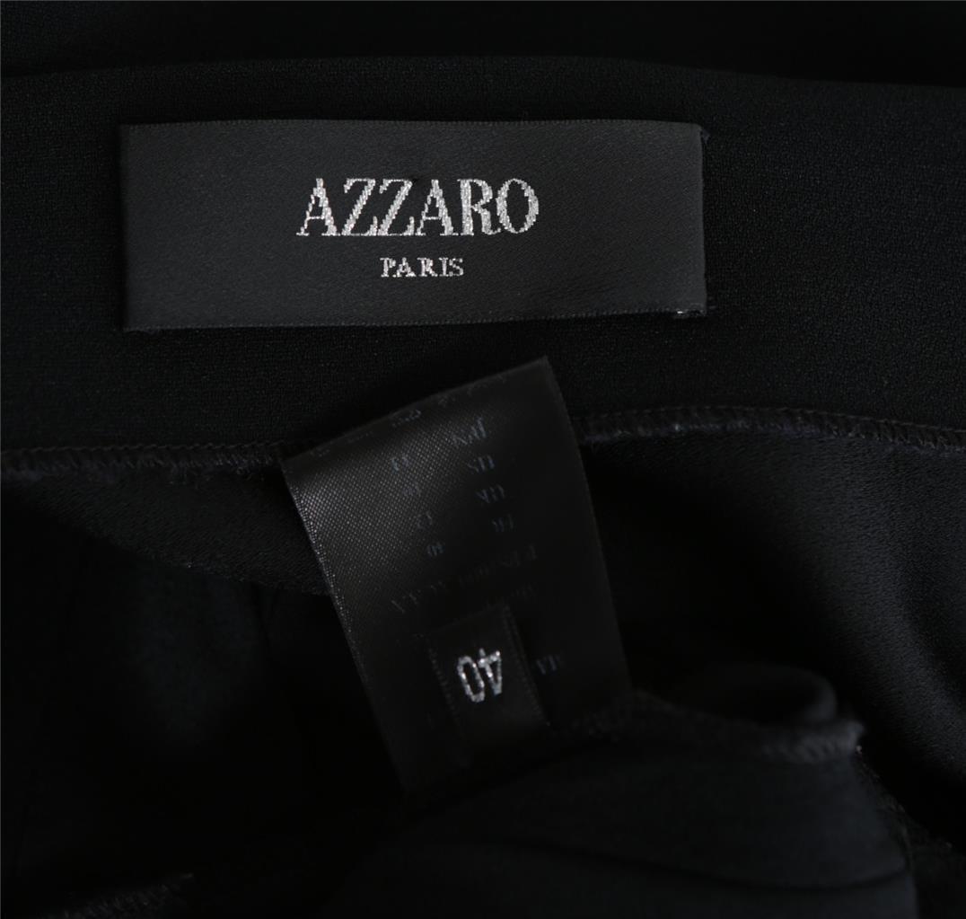 Azzaro Azzaro Azzaro Damen Schwarz Plissiert Tiefer V-Ausschnitt Silber Kristall-Brosche fc3bc2