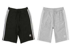 Adidas-Originals-Herren-Gym-Shorts-Schwarz-Grau-Baumwolle-Umriss-Streifen-Fleece-Casual