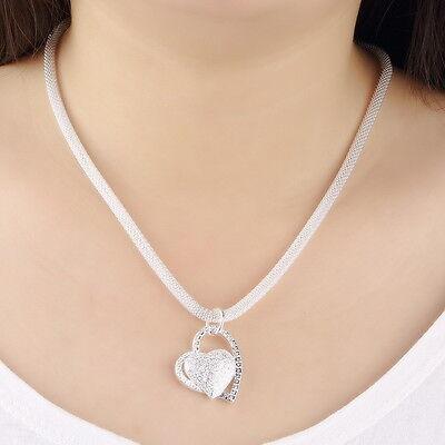 New Fashion 925 Sterling Silver Charm Heart Pendant Beautiful women Necklace EW