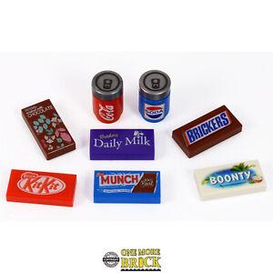 Confectionary-Prints-Barres-De-Chocolat-et-Coke-Boissons-canettes-Vrai-Lego-pieces