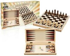 3 in 1 Travel Folding Wooden Board Game Boxed Chess Set Backgammon & Draughts