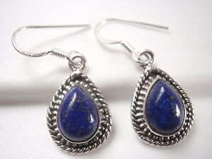 Lapis-Teardrop-925-Sterling-Silver-Dangle-Earrings-with-Rope-Style-Accents