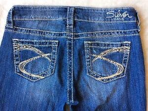 "NEW Women's Silver Jeans Mid Rise Lola 17"" Straight ..."