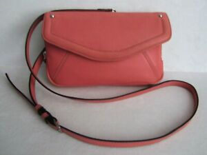 Clarks-Coral-Pink-Leather-Crossbody-Shoulder-Bag-Organizer-Purse-L-K