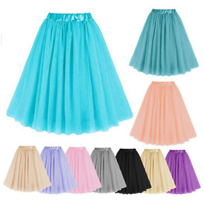 3-Lagen-Tuell-Tutu-Roecke-Hohe-Taille-Midi-Petticoat-Ballettrock-Prinzessin-Kleid