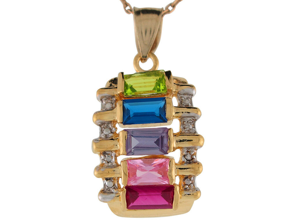 10k or 14k Two Tone gold Multi color CZ Modern colorful Mothers Charm Pendant