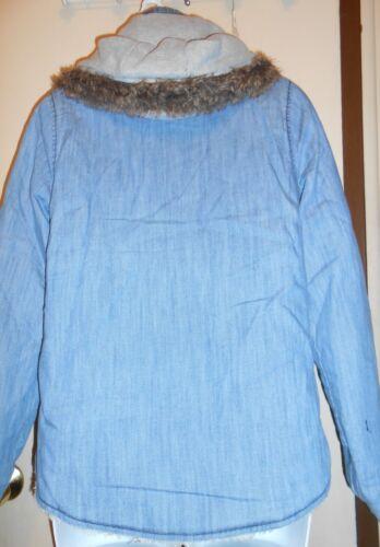con Giacca Junior i cappuccio in Roxy Blu denim Piccolo foderato Nwt Sherpa EEqUA4w
