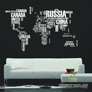 World map wall art stickers world map in letters wall decal la imagen se est cargando mapa del mundo calcomanias de pared mapa del gumiabroncs Choice Image