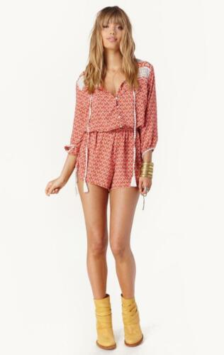 f807b7f6573 6 of 12 New FAITHFULL THE BRAND Orange White Woodstock Boho Indie Romper  Playsuit S