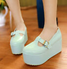 Womens Sweet Candy Color Platform Creeper Mary Janes Wedge Heels Round Toe Shoes