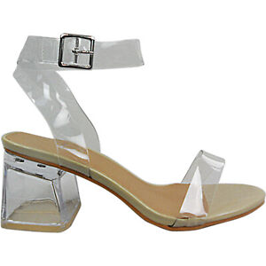Details about Womens Ladies Low Heel Perspex Clear Buckle Strappy Shoes Sandals Size Party New