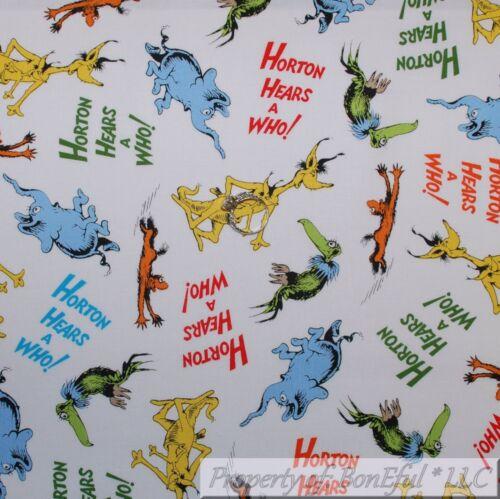 BonEful FABRIC FQ Cotton Quilt White Blue Horton Hears a Who Dr Seuss Elephant S
