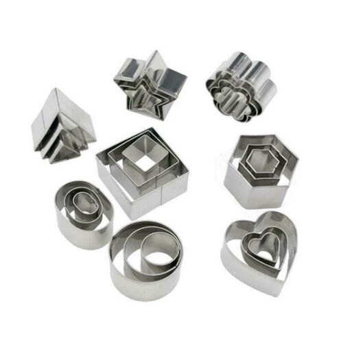 24x Shape Stainless Steel Mini Cookie Cutter Set Baking Pastry Cutters Slicers /&