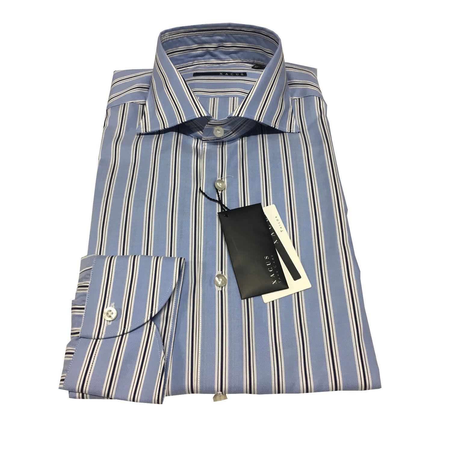XACUS men's shirts striped baby bluee 100% cotton