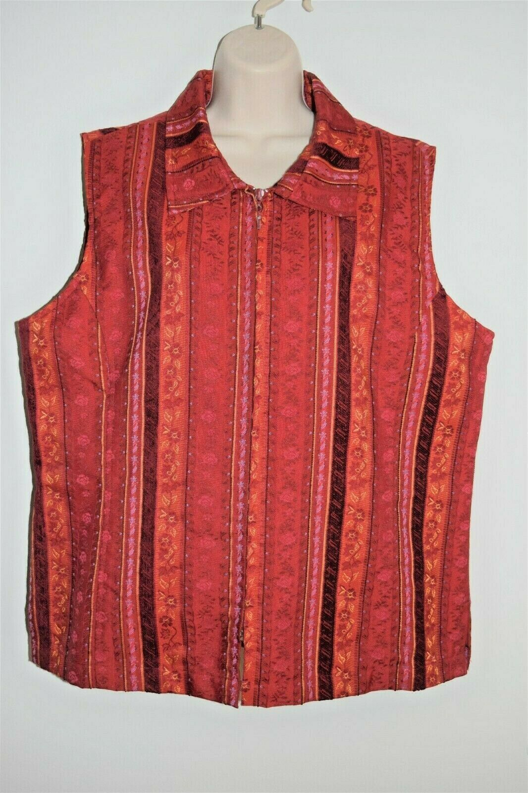 Coldwater Creek Red Multicolored Stripes Tapestry Vest XL