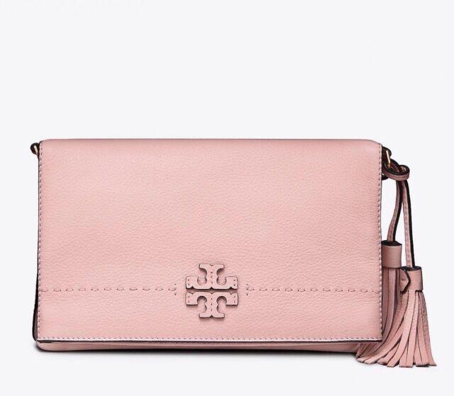 cce0392503e Tory Burch McGraw Foldover Leather Crossbody Bag Pink Quartz for ...