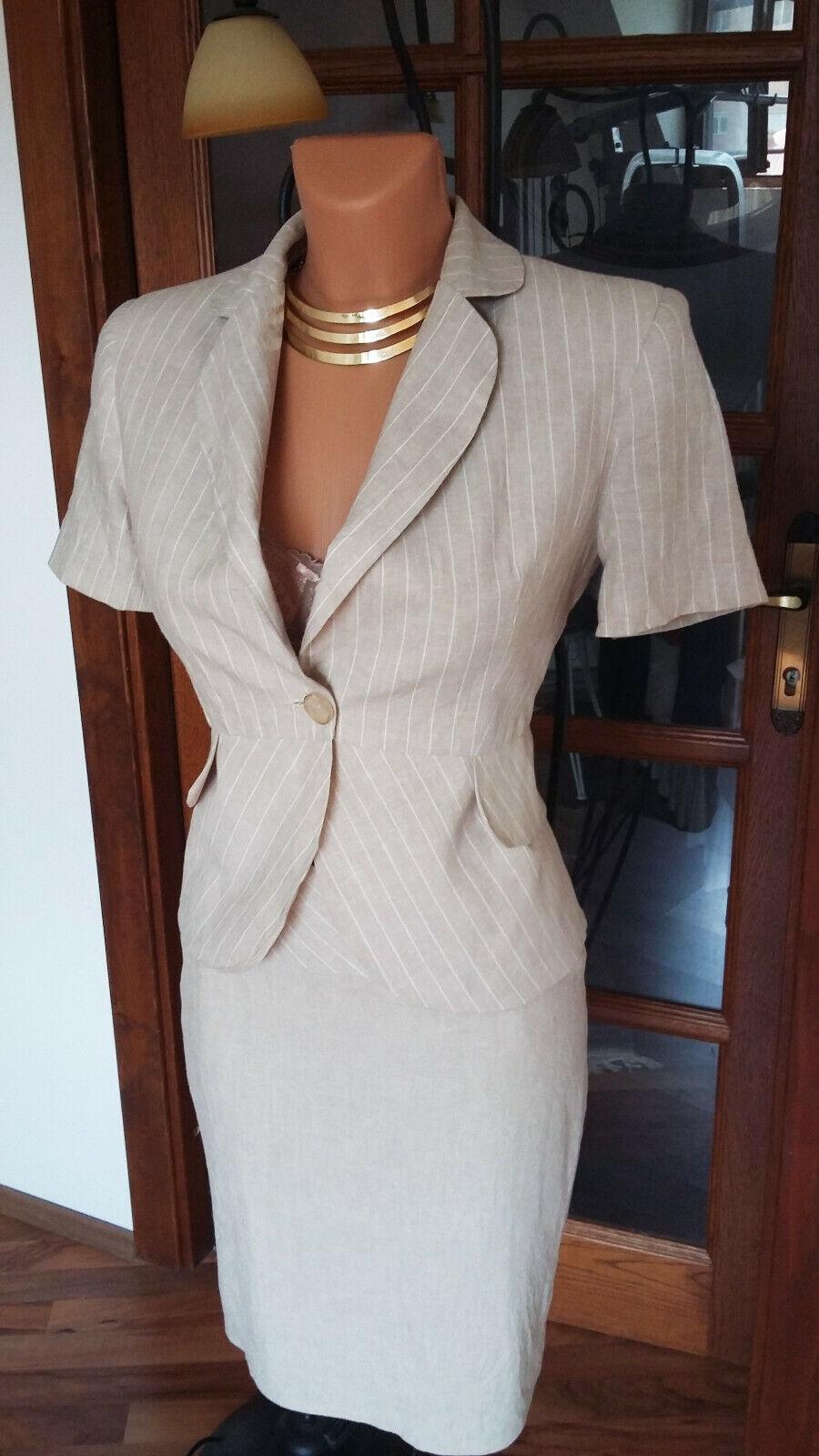 3 pcs linen blend skirt trouser suit size S