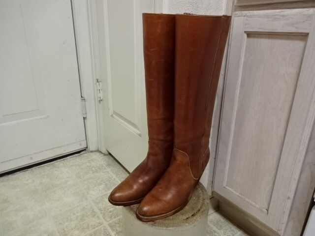 VINTAGE 70'S 17  KNEE TALL FRYE BOOTS GOOD COND WON 7.5 AA MOTORCYCLE USA MADE
