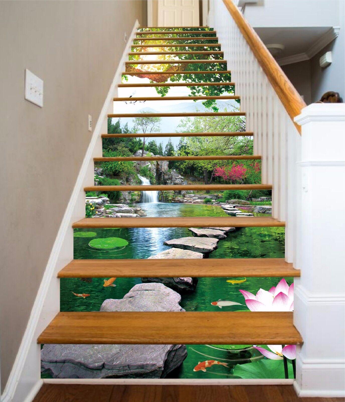 3D Lotus stone 354 Stair Risers Decoration Photo Mural Vinyl Decal Wallpaper UK