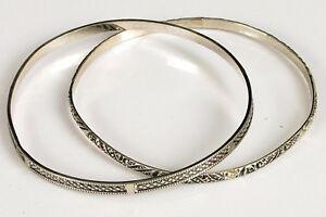 Vintage-silver-Stacker-Fashion-Cuff-bracelets-paire-fine-Grave-Design