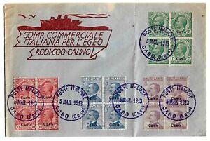 Caso-1912-cent-5-10-25-50-sassone-2-3-5-7-su-busta-filatelica-per-l-039-Egeo