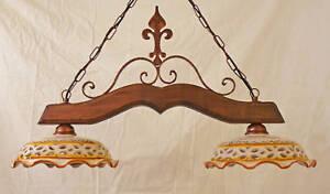 Lampadario Antico In Legno : Lampadario liberty art ferro forgiato legno ceramica decorata
