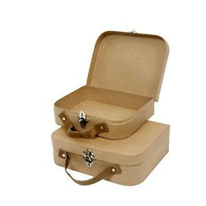 2-Nesting-Luggage-Suitcases-Shape-Boxes-Craft-Storage-Hand-Made-Paper-Mache
