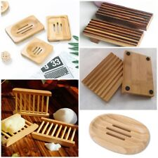 Wooden Soap Dish Holder Draining Tray Storage Plate Box Non-slip Container Tools