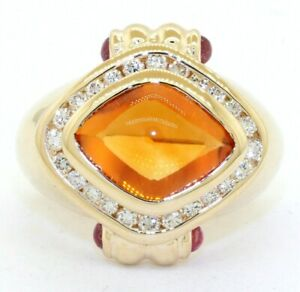 Heavy-14K-YG-4-88CT-VS1-G-diamond-Pink-tourmaline-amp-citrine-cocktail-ring-size-5
