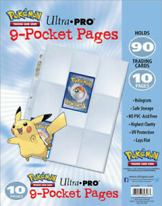 ULTRA-PRO-Embossed-Pikachu-9-Pocket-Pages-Sleeves-Pokemon-TCG-Card-Storage-x-10