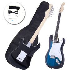 Rose Wood Fingerboard Electric Guitar Blue Gigbag Cord Strap Accessories