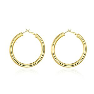14K-Yellow-Gold-34mm-Thickness-High-Polished-Classic-Hinged-Hoop-Earrings