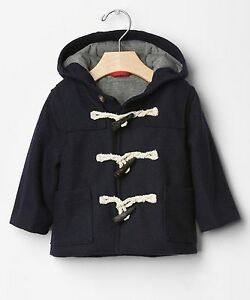 d67c53f36305 Baby GAP Boys Sz 0-6 Mo NEW NWT Navy Blue Toggle Wool Coat Hood ...