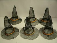 Lot Of 6 Halloween Witch Hat 6 - Craft Supply Decorate W/ Ribbon Feathers