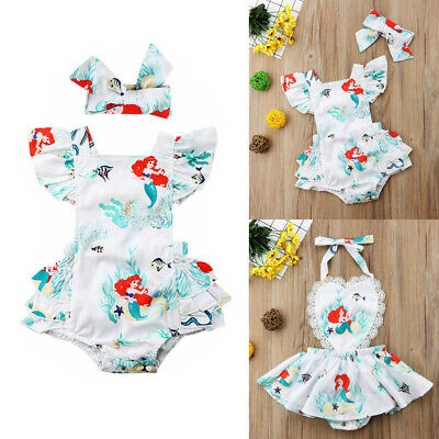 Cartoon Mermaid Toddler Baby Girls Lace Bodysuit Romper Jumpsuit Outfit Clothes