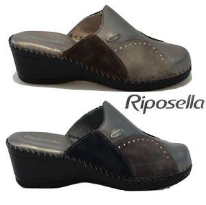 genuino una grande varietà di modelli colore veloce Dettagli su Ciabatte pantofole da donna Riposella pelle invernali zeppa  memory comode 3667