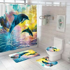 Dolphin-Bathroom-Rug-Set-Shower-Curtain-Non-Slip-Toilet-Lid-Cover-Bath-Mat