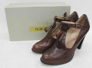 HOBBS-Ladies-Chestnut-Brown-Cecile-Leather-T-Bar-Tassel-High-Heel-Shoes-UK8-EU41