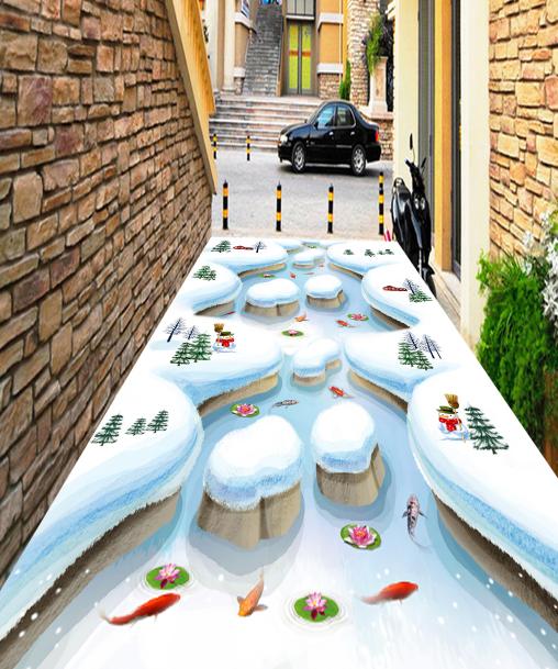 3D Snow Scene Fishes 8 Floor WallPaper Murals Wall Print Decal AJ WALLPAPER US