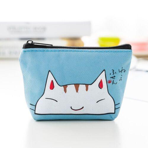Cartoon Cat Pattern Zipper Lovely Coin Purse Wallet Earphone Card Storage Bag