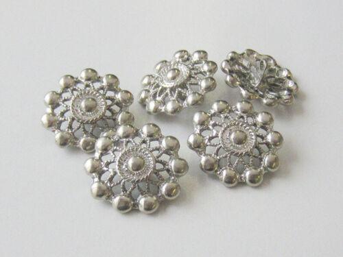 5  wunderschöne silberne Metallknöpfe mit Stern Durchbruch Muster 0195si