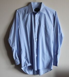Nicole-Miller-NY-mens-sz-15-5-blue-white-Long-Sleeve-Button-Down-Shirt-Striped