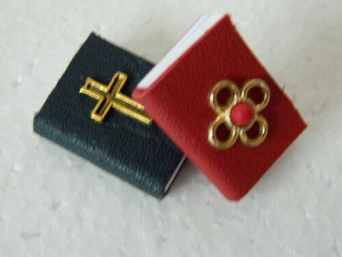M5.8 escala 1//12TH Casa De Muñecas Hecho a Mano libros cubiertas de cuero rojo//azul