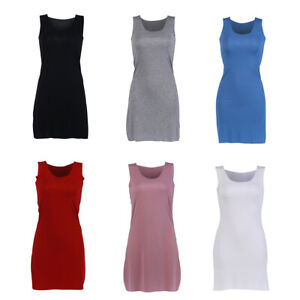 Women-039-s-Casual-Sleeveless-Tank-Extra-Long-Stretch-Vest-Top-Ladies-Summer-T-shirt