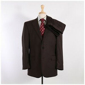 Jos. A. Bank 42R 36x29 Brown Solid Wool Two Button Suit