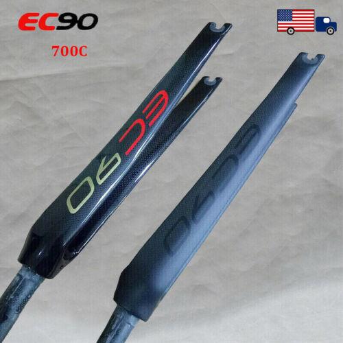 "EC90 Rigid Fork 700C Carbon Fiber C Brake 1-1//8/"" Threadless Road Bike Forks"