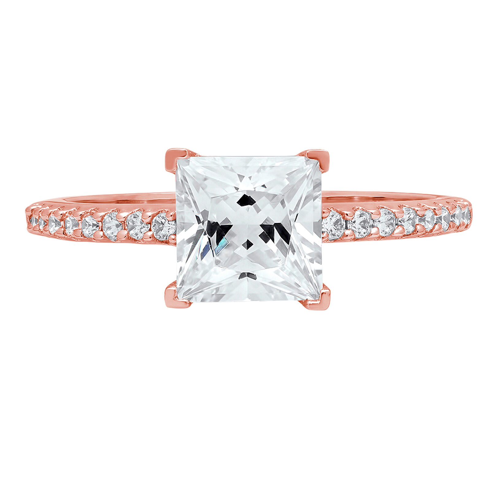 1.56ct Princess Cut Engagement Bridal Wedding Statement Ring 14k pink gold